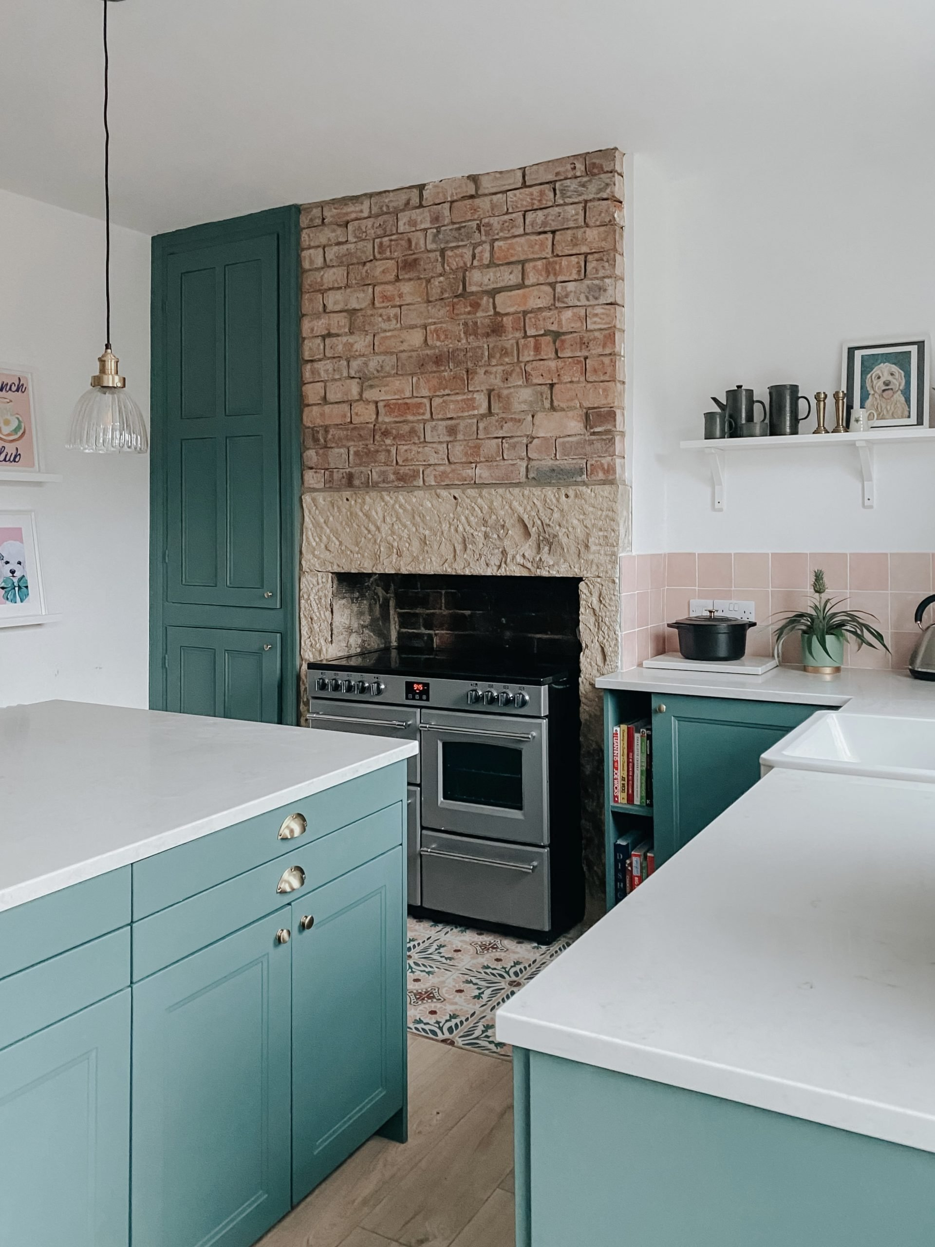 """alt=""""green painted Ikea kitchen in renovating mill cottage"""""""