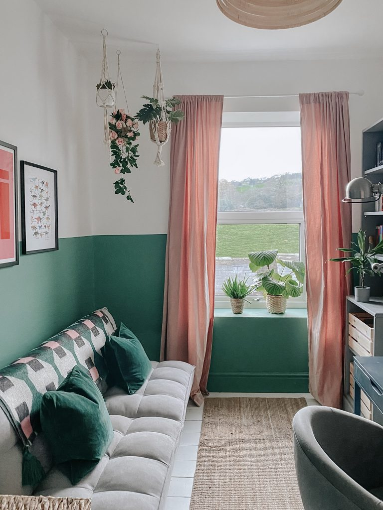 pink and green spare bedroom